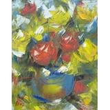 Ваза с красными и желтыми розами